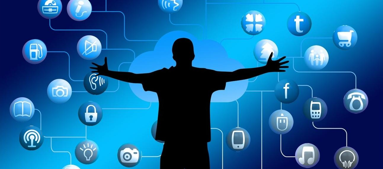 App icons floating on a blue background around a silhouetted person