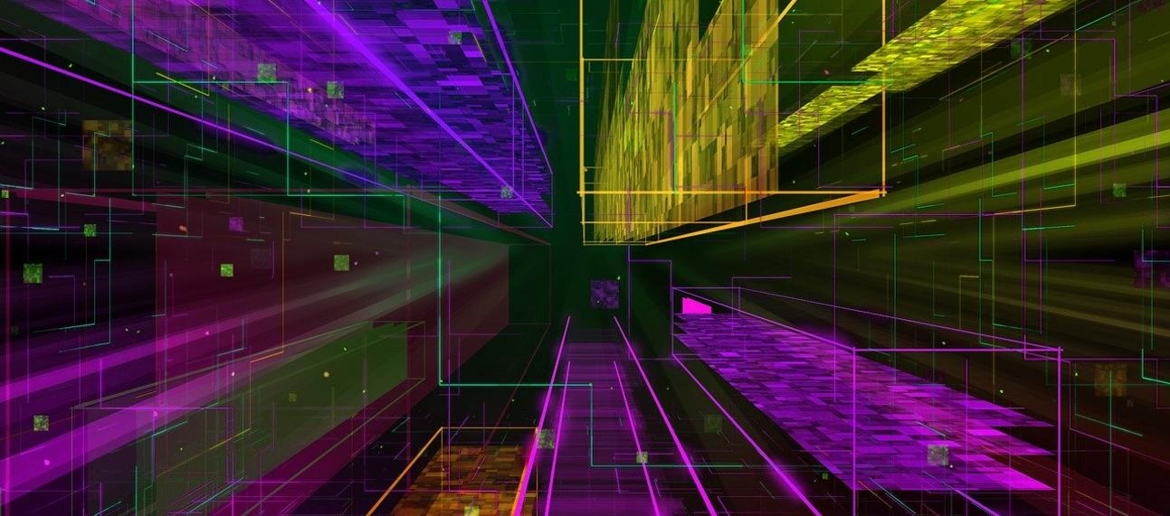 colourful digital data city leading off to a vanishing point
