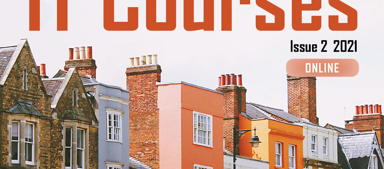 IT Courses brochure cover - Issue 2 2021 - colourful houses