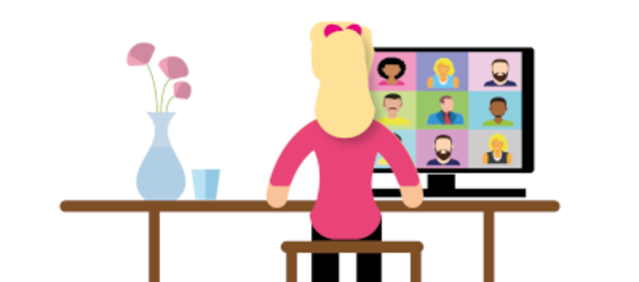 Cartoon image of a person sitting at a desk looking at a monitor with nine other faces looking back.