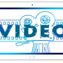 'video' and image of a camera and film on a tablet - cartoon.