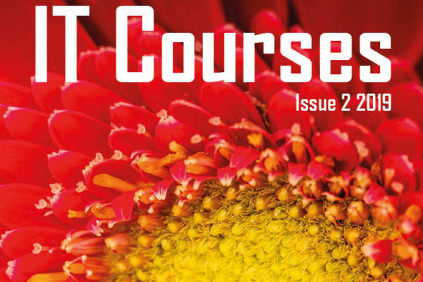 Cover of IT Learning Centre brochure - Issue 2 2019 - red and yellow flower