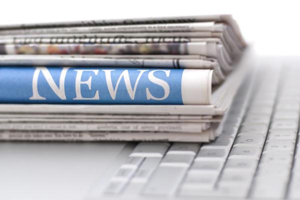 Newspaper on keyboard