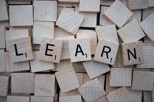 Wooden tiles spelling 'Learn'