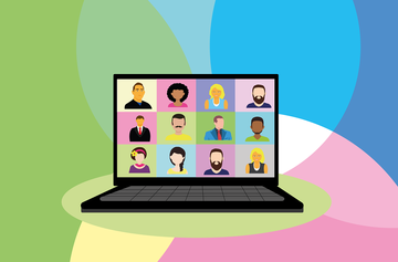 Cartoon image of a laptop with twelve faces looking out.