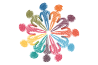 Crayon drawing showing colourful silhouette/outlines of people in a circle with their feet at the centre, like petals on a flower