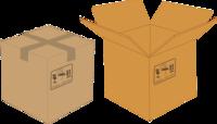 Cartoon image of a closed cardboard box and an open cardboard box