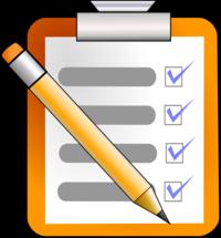 Cartoon image of a checklist and pencil