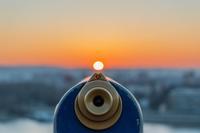A telescope pointed towards the horizon