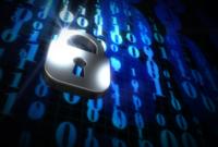 Digital image of a padlock over some binary code