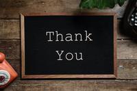 thank you written on a blackboard